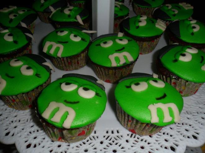 Green M&M Cupcake
