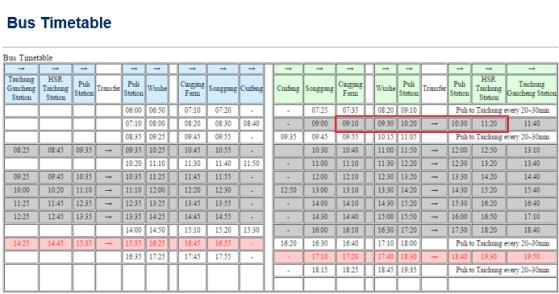 Nantou Bus Timetable